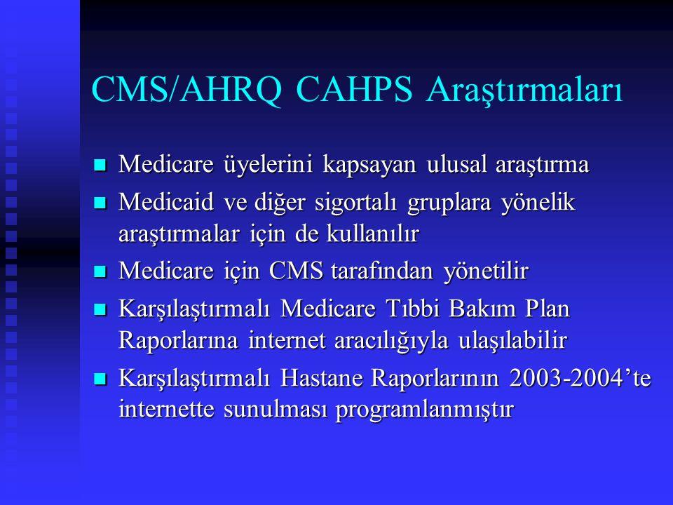 CMS/AHRQ CAHPS Araştırmaları Medicare üyelerini kapsayan ulusal araştırma Medicare üyelerini kapsayan ulusal araştırma Medicaid ve diğer sigortalı gru