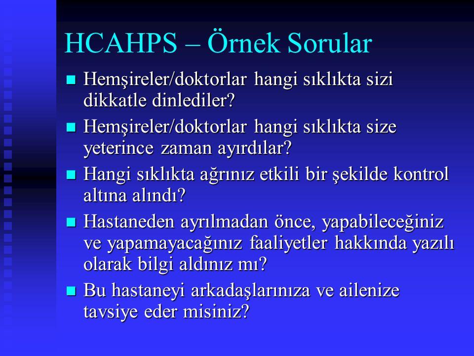 HCAHPS – Örnek Sorular Hemşireler/doktorlar hangi sıklıkta sizi dikkatle dinlediler? Hemşireler/doktorlar hangi sıklıkta sizi dikkatle dinlediler? Hem