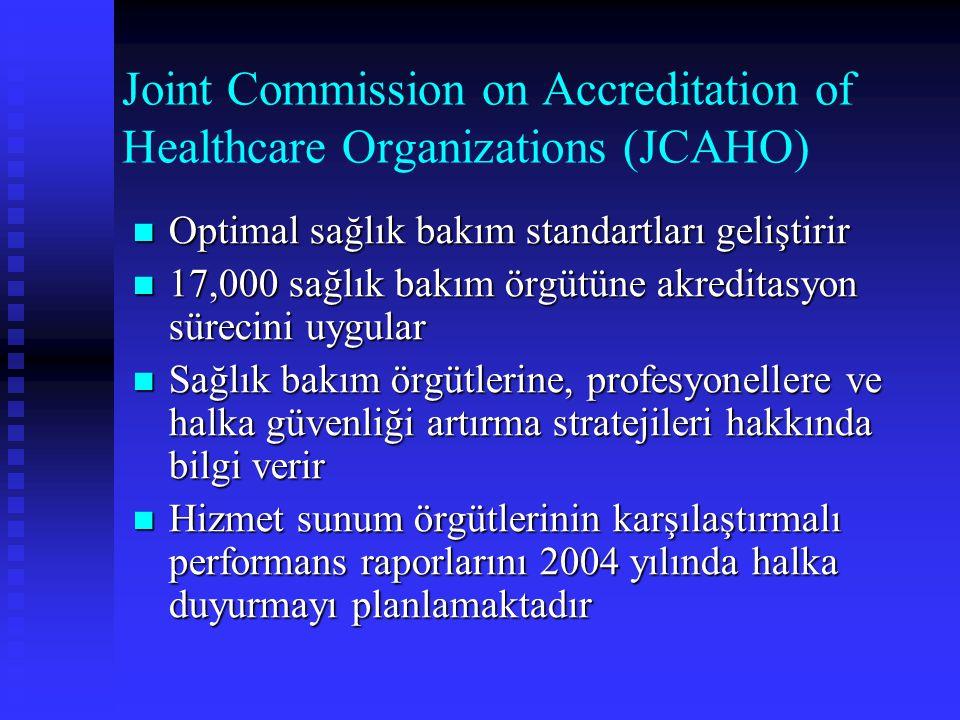 Joint Commission on Accreditation of Healthcare Organizations (JCAHO) Optimal sağlık bakım standartları geliştirir Optimal sağlık bakım standartları g