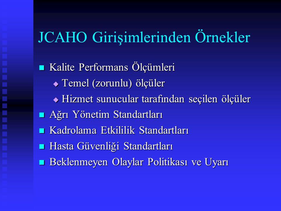 JCAHO Girişimlerinden Örnekler Kalite Performans Ölçümleri Kalite Performans Ölçümleri  Temel (zorunlu) ölçüler  Hizmet sunucular tarafından seçilen