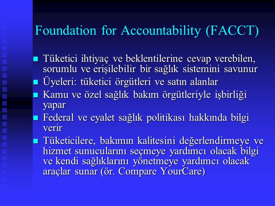 Foundation for Accountability (FACCT) Tüketici ihtiyaç ve beklentilerine cevap verebilen, sorumlu ve erişilebilir bir sağlık sistemini savunur Tüketic