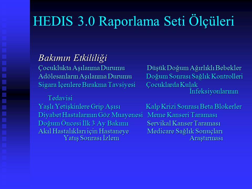 HEDIS 3.0 Raporlama Seti Ölçüleri Bakımın Etkililiği Çocuklukta Aşılanma Durumu Düşük Doğum Ağırlıklı Bebekler Adölesanların Aşılanma Durumu Doğum Son