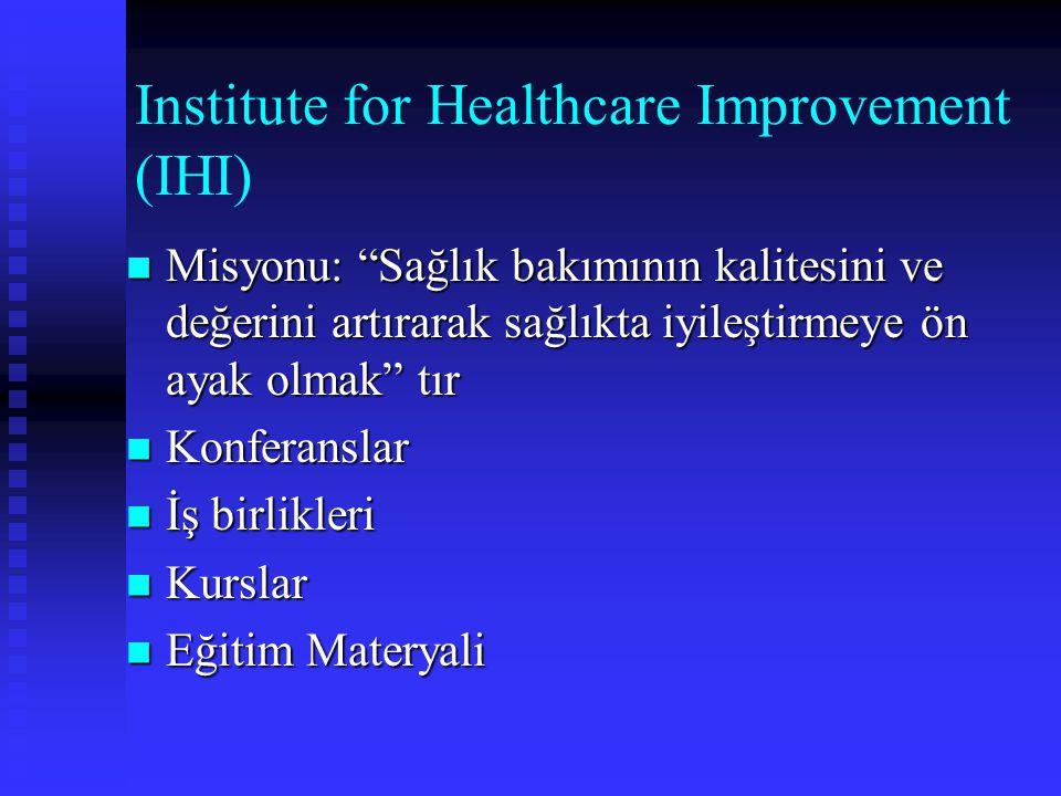 """Institute for Healthcare Improvement (IHI) Misyonu: """"Sağlık bakımının kalitesini ve değerini artırarak sağlıkta iyileştirmeye ön ayak olmak"""" tır Misyo"""
