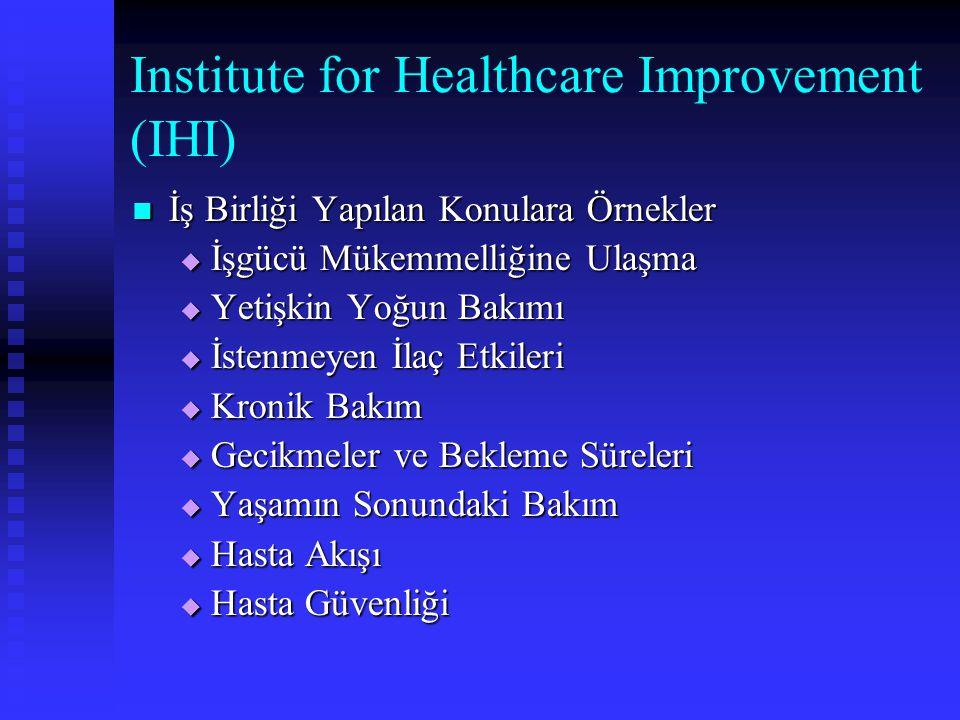 Institute for Healthcare Improvement (IHI) İş Birliği Yapılan Konulara Örnekler İş Birliği Yapılan Konulara Örnekler  İşgücü Mükemmelliğine Ulaşma 