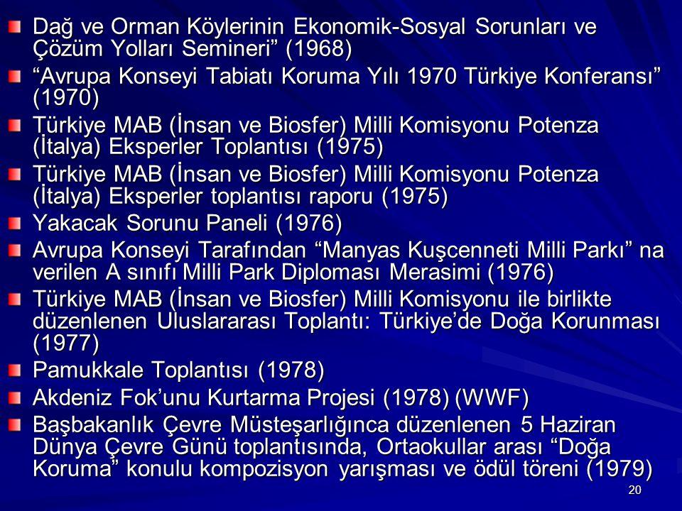 """20 Dağ ve Orman Köylerinin Ekonomik-Sosyal Sorunları ve Çözüm Yolları Semineri"""" (1968) """"Avrupa Konseyi Tabiatı Koruma Yılı 1970 Türkiye Konferansı"""" (1"""