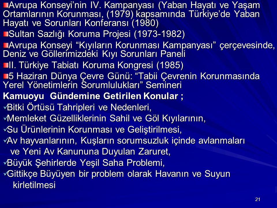 21 Avrupa Konseyi'nin IV. Kampanyası (Yaban Hayatı ve Yaşam Ortamlarının Korunması, (1979) kapsamında Türkiye'de Yaban Hayatı ve Sorunları Konferansı