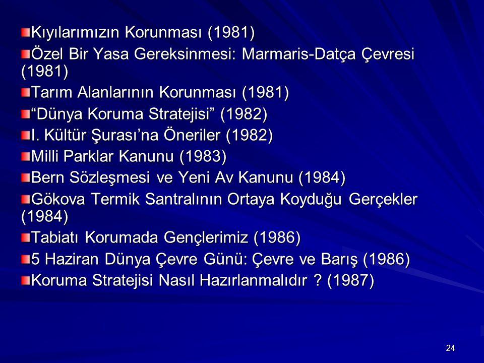 """24 Kıyılarımızın Korunması (1981) Özel Bir Yasa Gereksinmesi: Marmaris-Datça Çevresi (1981) Tarım Alanlarının Korunması (1981) """"Dünya Koruma Stratejis"""
