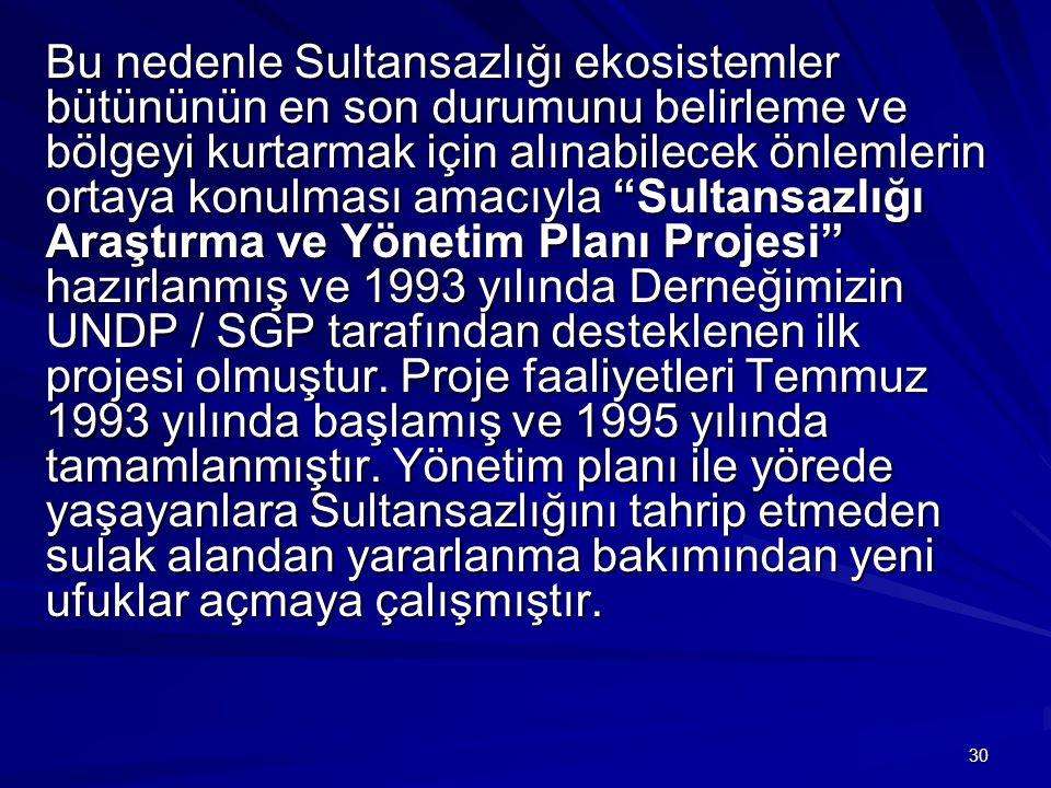 30 Bu nedenle Sultansazlığı ekosistemler bütününün en son durumunu belirleme ve bölgeyi kurtarmak için alınabilecek önlemlerin ortaya konulması amacıy