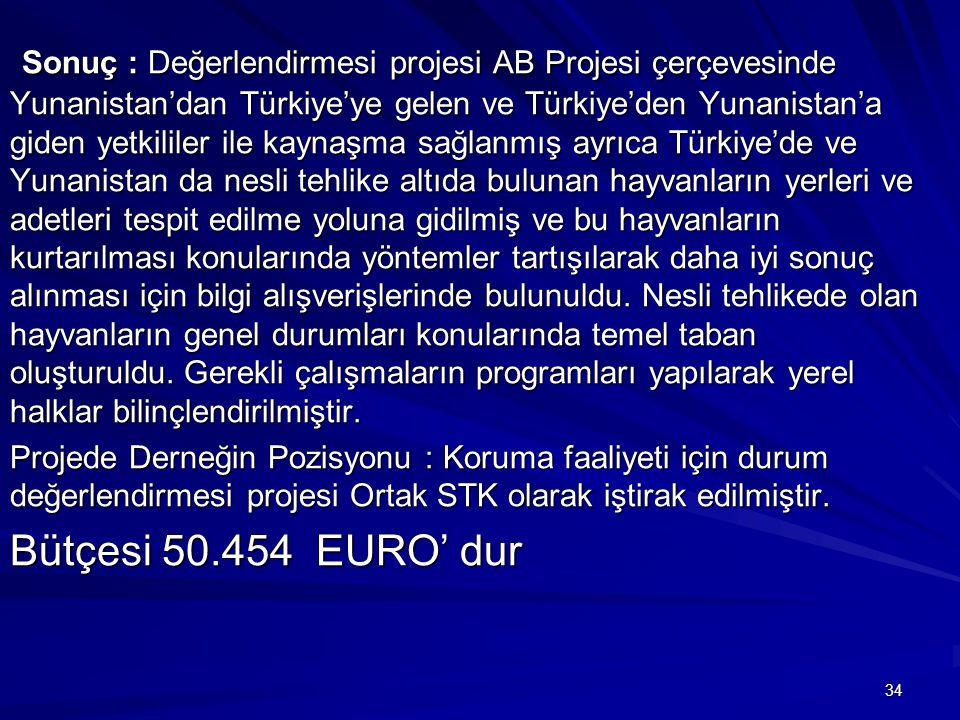 34 Sonuç : Değerlendirmesi projesi AB Projesi çerçevesinde Yunanistan'dan Türkiye'ye gelen ve Türkiye'den Yunanistan'a giden yetkililer ile kaynaşma s