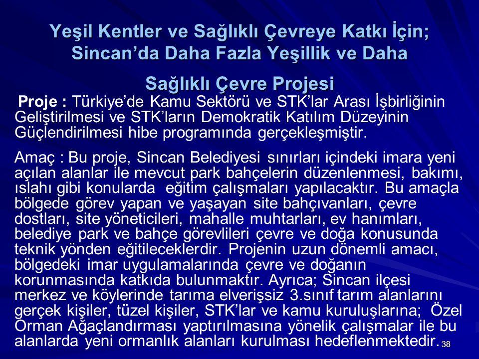 38 Yeşil Kentler ve Sağlıklı Çevreye Katkı İçin; Sincan'da Daha Fazla Yeşillik ve Daha Sağlıklı Çevre Projesi Proje : Türkiye'de Kamu Sektörü ve STK'l