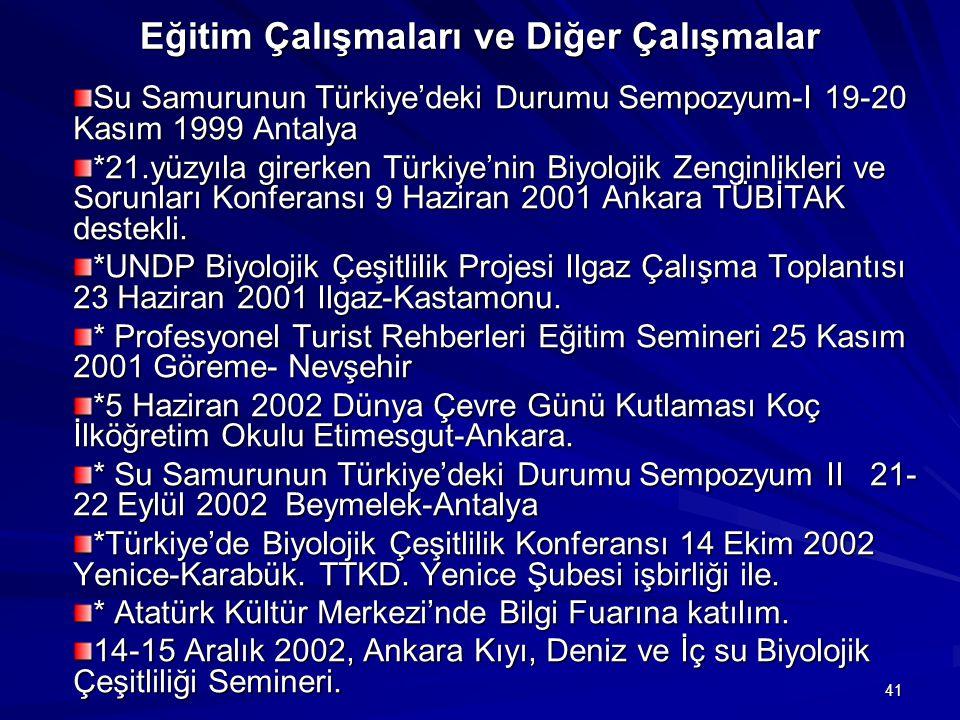 41 Eğitim Çalışmaları ve Diğer Çalışmalar Eğitim Çalışmaları ve Diğer Çalışmalar Su Samurunun Türkiye'deki Durumu Sempozyum-I 19-20 Kasım 1999 Antalya