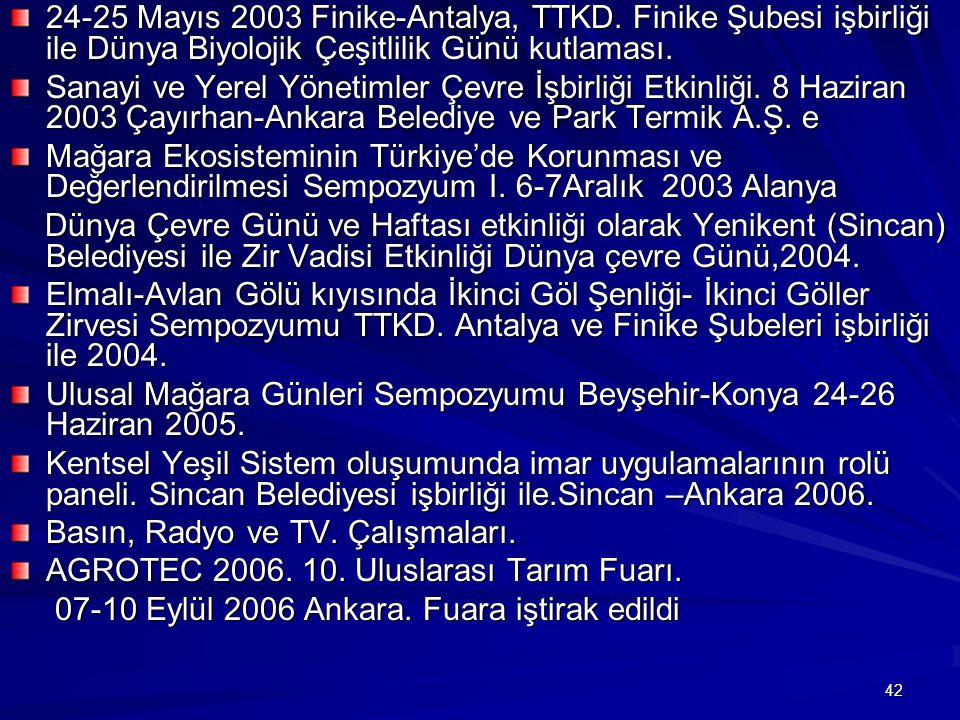 42 24-25 Mayıs 2003 Finike-Antalya, TTKD. Finike Şubesi işbirliği ile Dünya Biyolojik Çeşitlilik Günü kutlaması. Sanayi ve Yerel Yönetimler Çevre İşbi