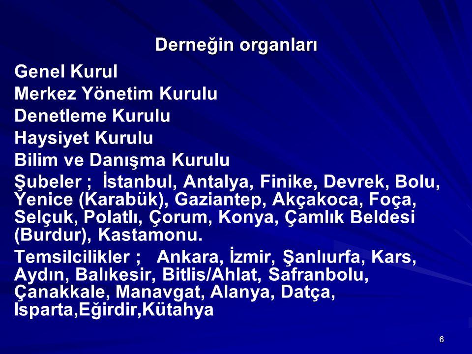 6 Derneğin organları Genel Kurul Merkez Yönetim Kurulu Denetleme Kurulu Haysiyet Kurulu Bilim ve Danışma Kurulu Şubeler ; İstanbul, Antalya, Finike, D