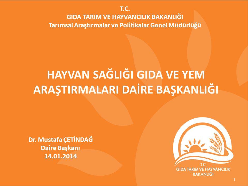Dr. Mustafa ÇETİNDAĞ Daire Başkanı 14.01.2014 HAYVAN SAĞLIĞI GIDA VE YEM ARAŞTIRMALARI DAİRE BAŞKANLIĞI T.C. GIDA TARIM VE HAYVANCILIK BAKANLIĞI Tarım