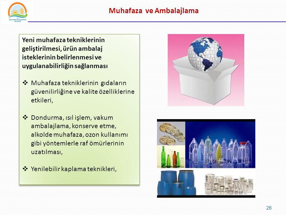 Muhafaza ve Ambalajlama Yeni muhafaza tekniklerinin geliştirilmesi, ürün ambalaj isteklerinin belirlenmesi ve uygulanabilirliğin sağlanması  Muhafaza