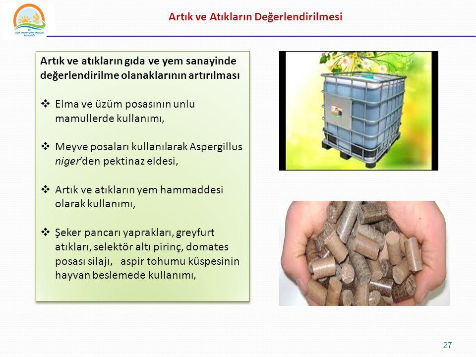 Artık ve Atıkların Değerlendirilmesi Artık ve atıkların gıda ve yem sanayinde değerlendirilme olanaklarının artırılması  Elma ve üzüm posasının unlu