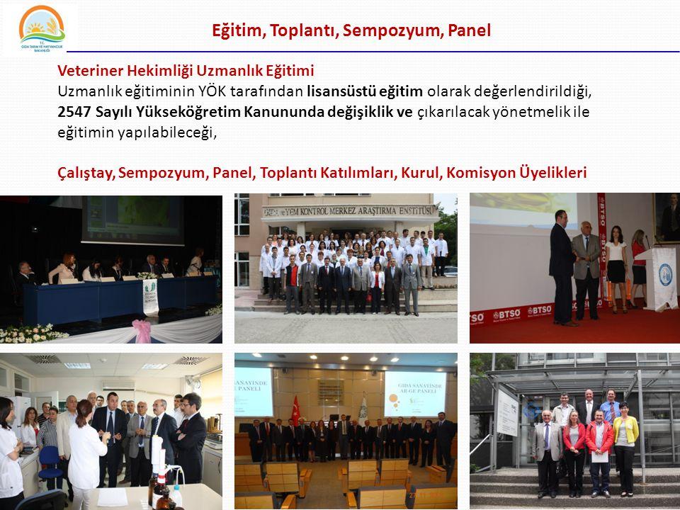 34 Eğitim, Toplantı, Sempozyum, Panel Veteriner Hekimliği Uzmanlık Eğitimi Uzmanlık eğitiminin YÖK tarafından lisansüstü eğitim olarak değerlendirildi