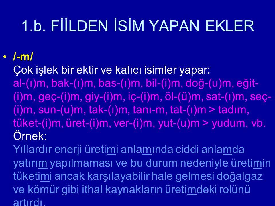 1.b. FİİLDEN İSİM YAPAN EKLER /-m/ Çok işlek bir ektir ve kalıcı isimler yapar: al-(ı)m, bak-(ı)m, bas-(ı)m, bil-(i)m, doğ-(u)m, eğit- (i)m, geç-(i)m,
