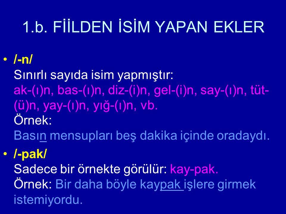1.b. FİİLDEN İSİM YAPAN EKLER /-n/ Sınırlı sayıda isim yapmıştır: ak-(ı)n, bas-(ı)n, diz-(i)n, gel-(i)n, say-(ı)n, tüt- (ü)n, yay-(ı)n, yığ-(ı)n, vb.