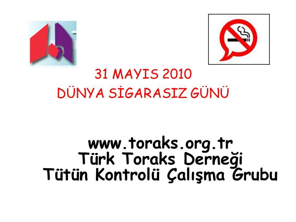 www.toraks.org.tr Türk Toraks Derneği Tütün Kontrolü Çalışma Grubu 31 MAYIS 2010 DÜNYA SİGARASIZ GÜNÜ