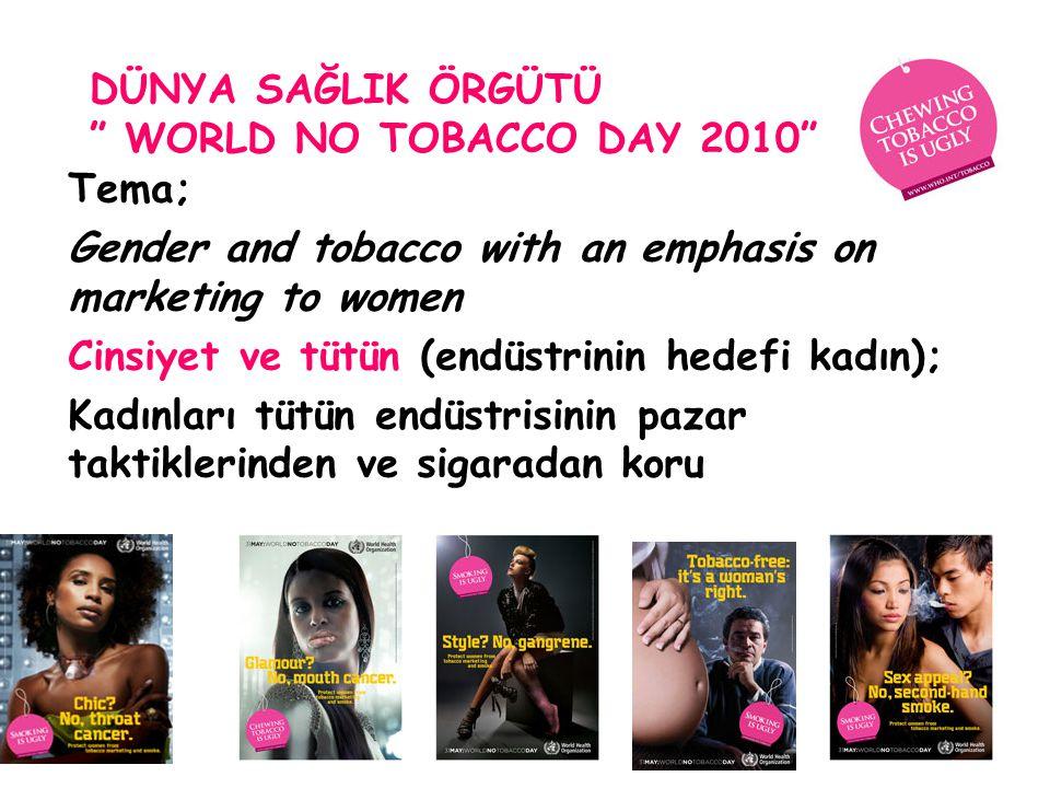 "DÜNYA SAĞLIK ÖRGÜTÜ "" WORLD NO TOBACCO DAY 2010"" Tema; Gender and tobacco with an emphasis on marketing to women Cinsiyet ve tütün (endüstrinin hedefi"