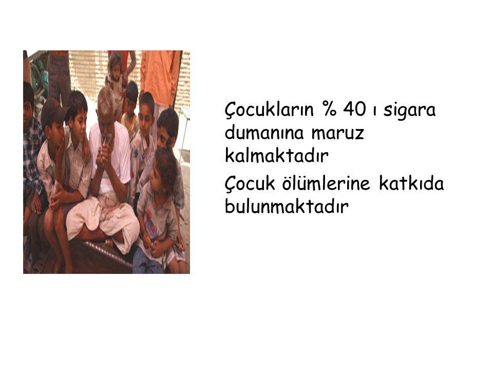 Çocukların % 40 ı sigara dumanına maruz kalmaktadır Çocuk ölümlerine katkıda bulunmaktadır