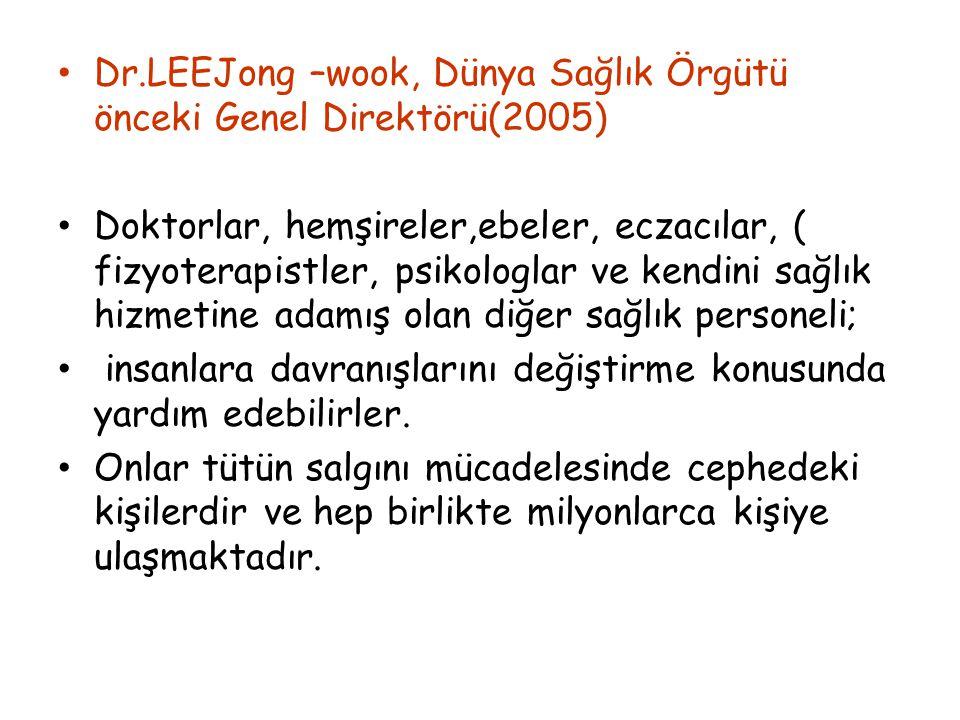 Dr.LEEJong –wook, Dünya Sağlık Örgütü önceki Genel Direktörü(2005) Doktorlar, hemşireler,ebeler, eczacılar, ( fizyoterapistler, psikologlar ve kendini
