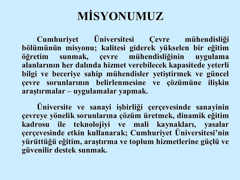 MİSYONUMUZ Cumhuriyet Üniversitesi Çevre mühendisliği bölümünün misyonu; kalitesi giderek yükselen bir eğitim öğretim sunmak, çevre mühendisliğinin uy