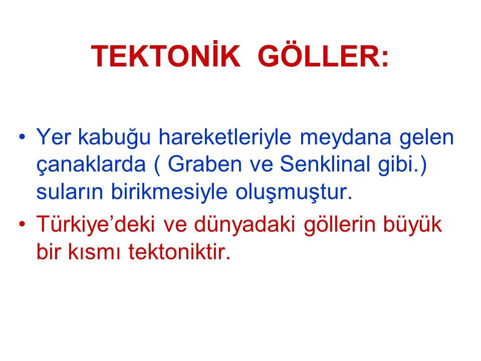 TEKTONİK GÖLLER: Yer kabuğu hareketleriyle meydana gelen çanaklarda ( Graben ve Senklinal gibi.) suların birikmesiyle oluşmuştur. Türkiye'deki ve düny
