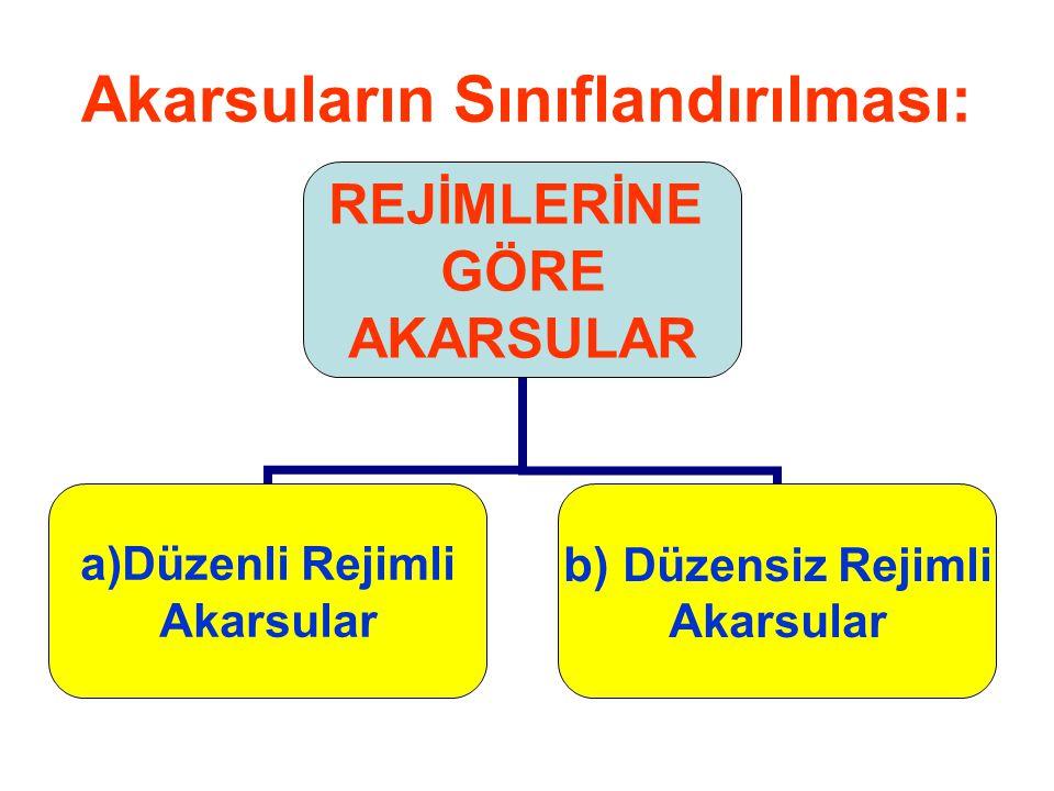 Akarsuların Sınıflandırılması: REJİMLERİNE GÖRE AKARSULAR a)Düzenli Rejimli Akarsular b) Düzensiz Rejimli Akarsular