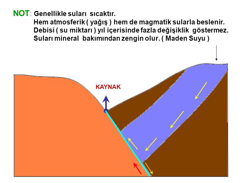 NOT : Genellikle suları sıcaktır. Hem atmosferik ( yağış ) hem de magmatik sularla beslenir. Debisi ( su miktarı ) yıl içerisinde fazla değişiklik gös