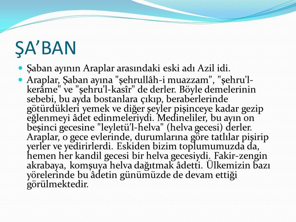 ŞA'BAN Şaban ayının Araplar arasındaki eski adı Azil idi. Araplar, Şaban ayına