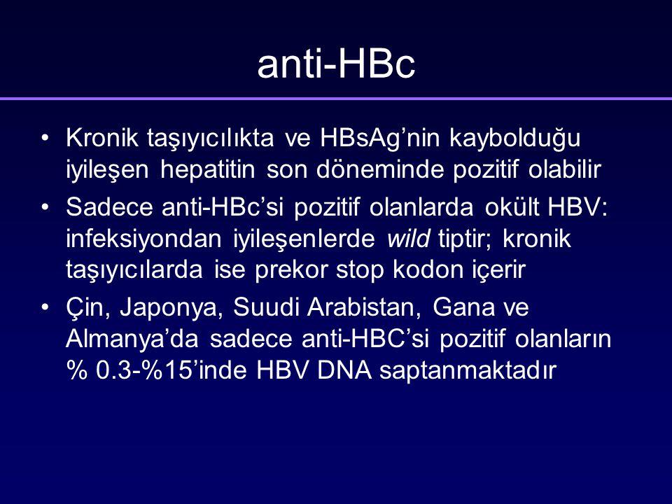 anti-HBc Kronik taşıyıcılıkta ve HBsAg'nin kaybolduğu iyileşen hepatitin son döneminde pozitif olabilir Sadece anti-HBc'si pozitif olanlarda okült HBV: infeksiyondan iyileşenlerde wild tiptir; kronik taşıyıcılarda ise prekor stop kodon içerir Çin, Japonya, Suudi Arabistan, Gana ve Almanya'da sadece anti-HBC'si pozitif olanların % 0.3-%15'inde HBV DNA saptanmaktadır