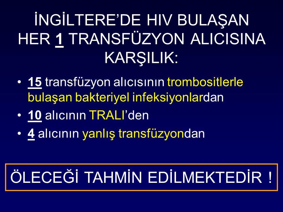 İNGİLTERE'DE HIV BULAŞAN HER 1 TRANSFÜZYON ALICISINA KARŞILIK: 15 transfüzyon alıcısının trombositlerle bulaşan bakteriyel infeksiyonlardan 10 alıcının TRALI'den 4 alıcının yanlış transfüzyondan ÖLECEĞİ TAHMİN EDİLMEKTEDİR !