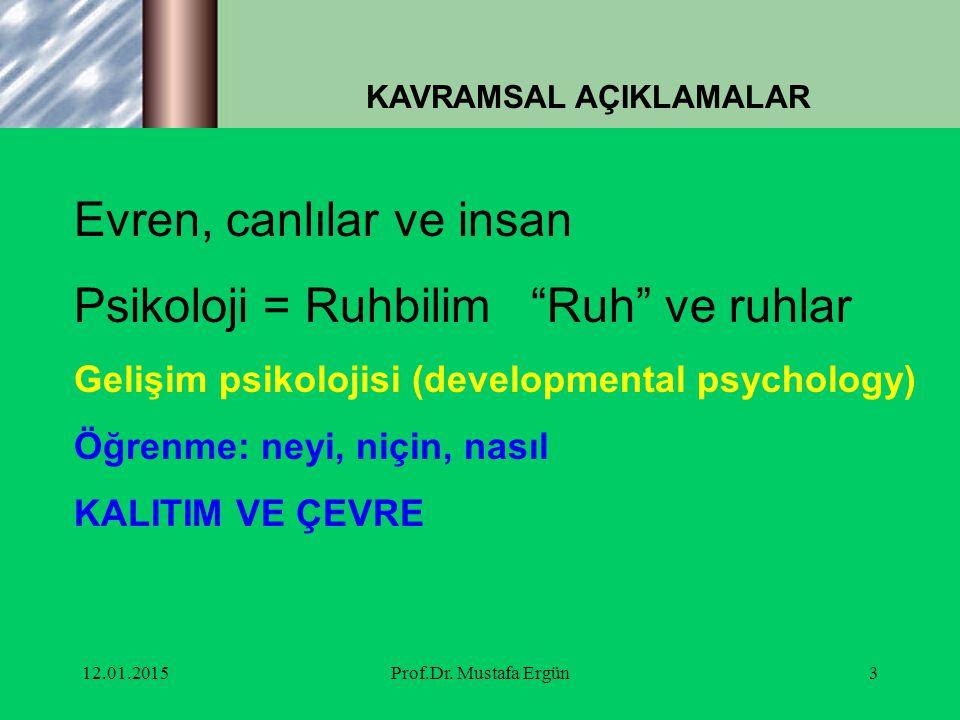"""12.01.2015Prof.Dr. Mustafa Ergün3 KAVRAMSAL AÇIKLAMALAR Evren, canlılar ve insan Psikoloji = Ruhbilim """"Ruh"""" ve ruhlar Gelişim psikolojisi (development"""