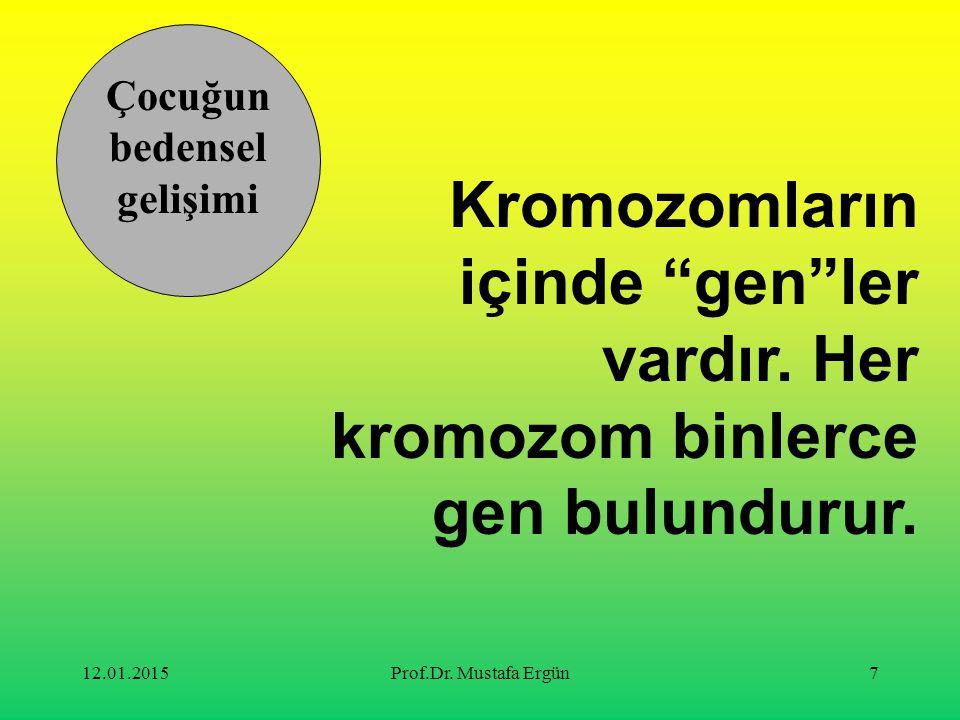 """12.01.2015Prof.Dr. Mustafa Ergün7 Kromozomların içinde """"gen""""ler vardır. Her kromozom binlerce gen bulundurur. Çocuğun bedensel gelişimi"""