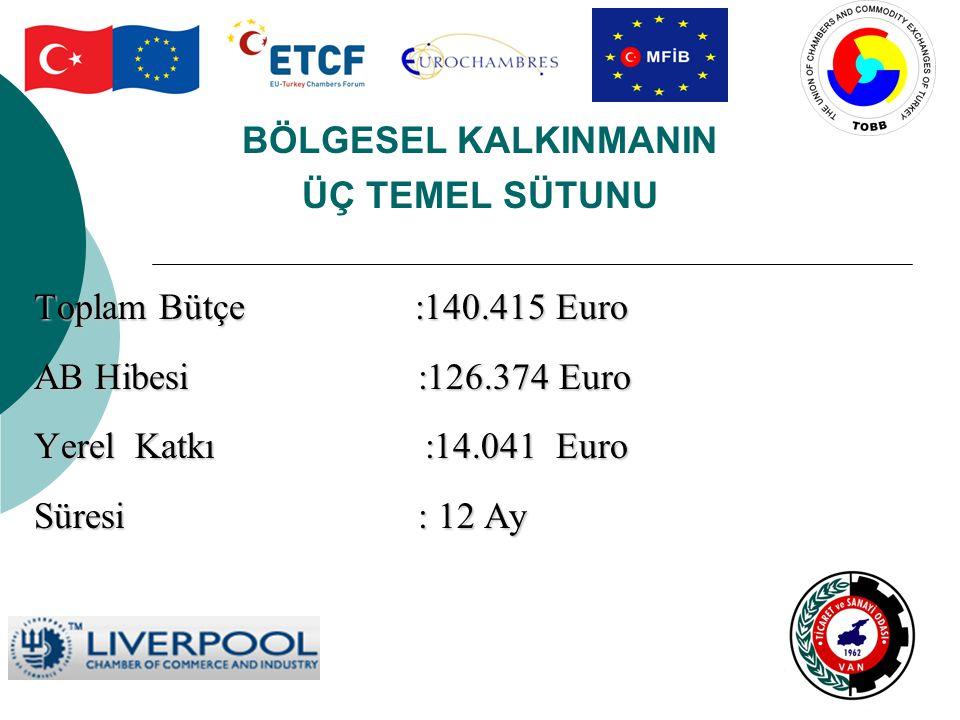 BÖLGESEL KALKINMANIN ÜÇ TEMEL SÜTUNU Toplam Bütçe :140.415 Euro AB Hibesi:126.374 Euro Yerel Katkı :14.041 Euro Süresi: 12 Ay