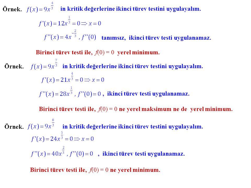 Örnek. in kritik değerlerine ikinci türev testini uygulayalım. tanımsız, ikinci türev testi uygulanamaz. Örnek. in kritik değerlerine ikinci türev tes