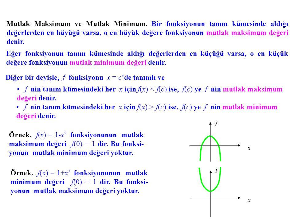 Mutlak Maksimum ve Mutlak Minimum. Bir fonksiyonun tanım kümesinde aldığı değerlerden en büyüğü varsa, o en büyük değere fonksiyonun mutlak maksimum d
