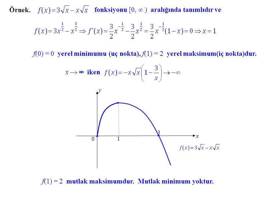 Örnek. fonksiyonu [0, ∞ ) aralığında tanımlıdır ve f(0) = 0 yerel minimumu (uç nokta), f(1) = 2 yerel maksimum(iç nokta)dur. x   iken f(1) = 2 mutla