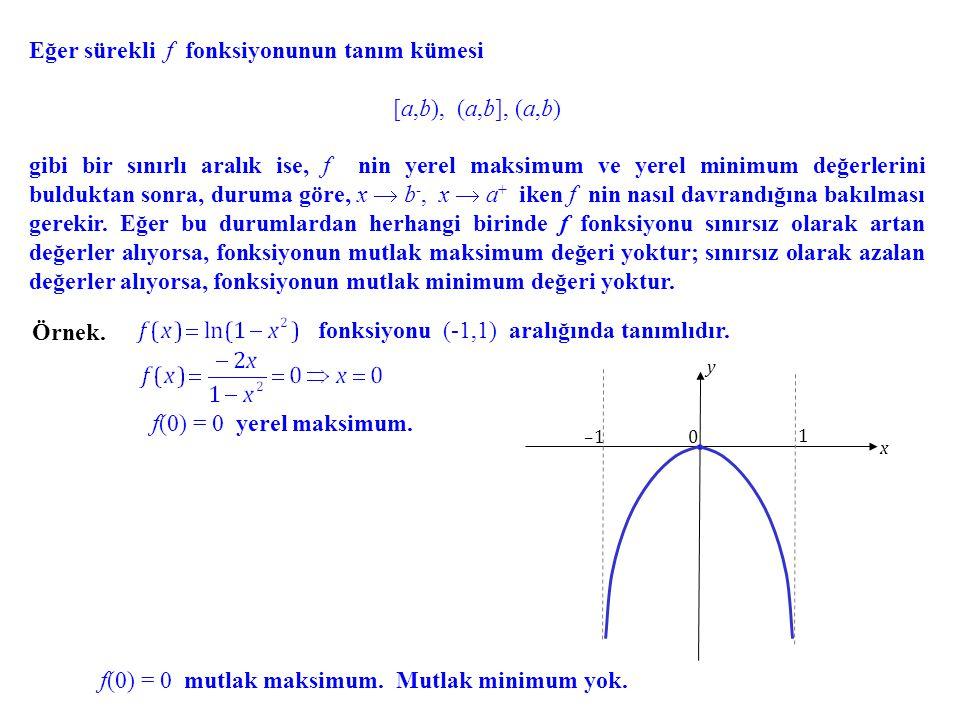 Eğer sürekli f fonksiyonunun tanım kümesi [a,b), (a,b], (a,b)(a,b) gibi bir sınırlı aralık ise, f nin yerel maksimum ve yerel minimum değerlerini buld
