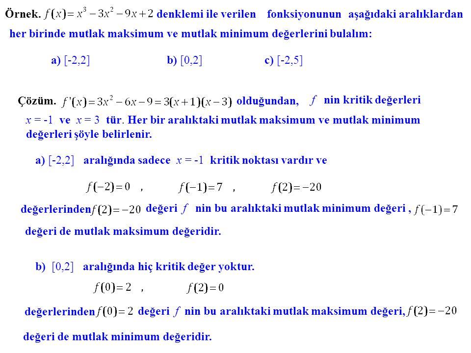 Örnek. denklemi ile verilen fonksiyonunun aşağıdaki aralıklardan her birinde mutlak maksimum ve mutlak minimum değerlerini bulalım: a) [-2,2] b) [0,2]