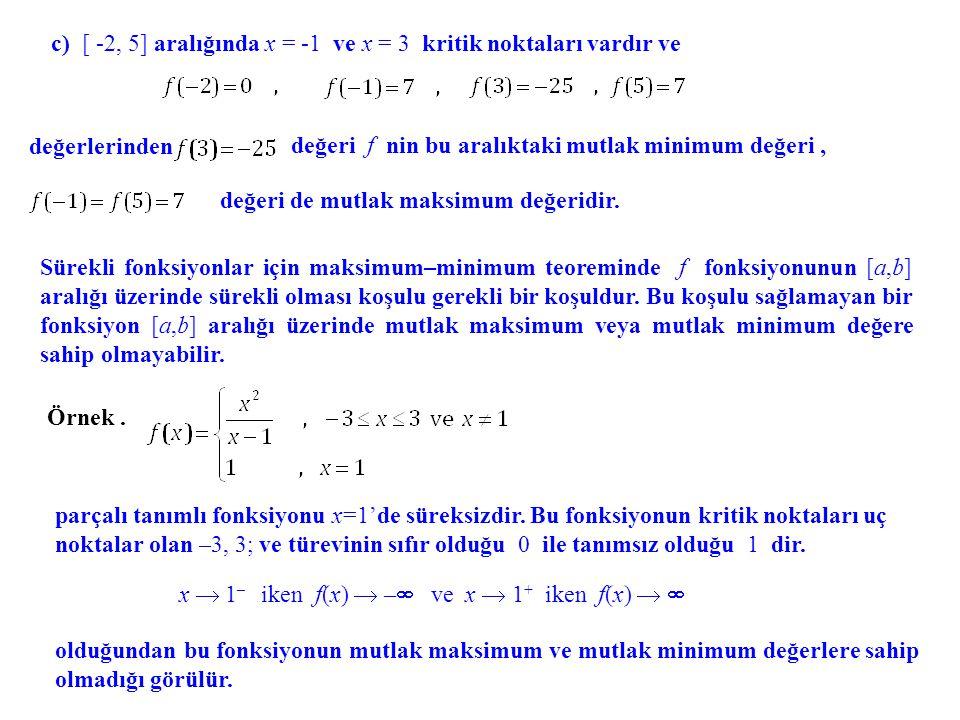 değerlerinden değeri f nin bu aralıktaki mutlak minimum değeri, de mutlak maksimum değeridir. c) [ -2, 5] aralığında x = -1 ve x = 3 kritik noktaları