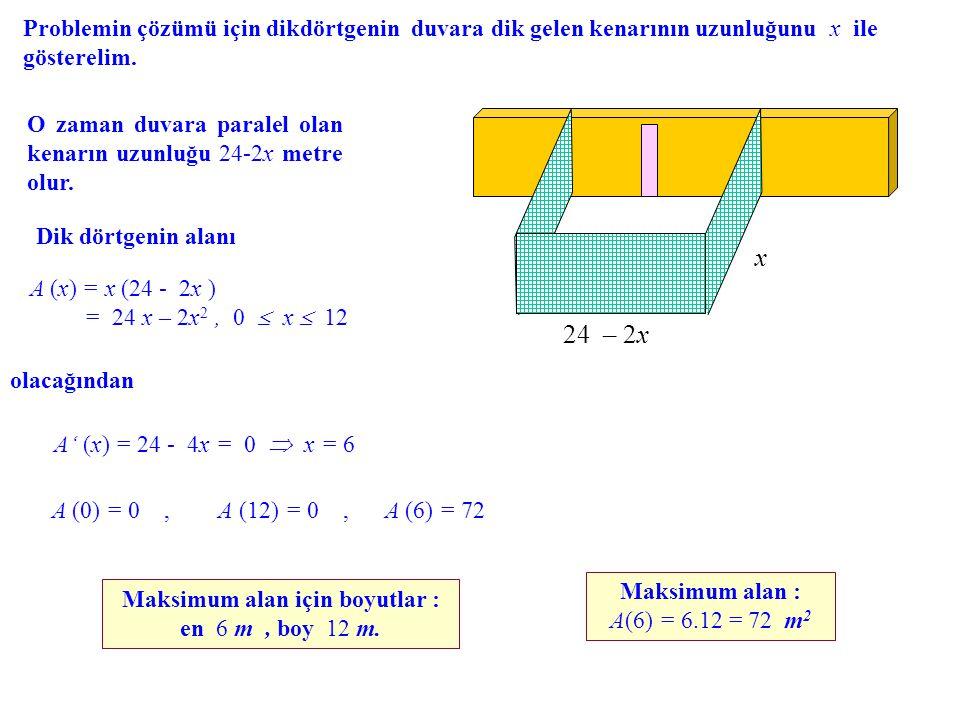 Problemin çözümü için dikdörtgenin duvara dik gelen kenarının uzunluğunu x ile gösterelim. 24 – 2x x O zaman duvara paralel olan kenarın uzunluğu 24-2