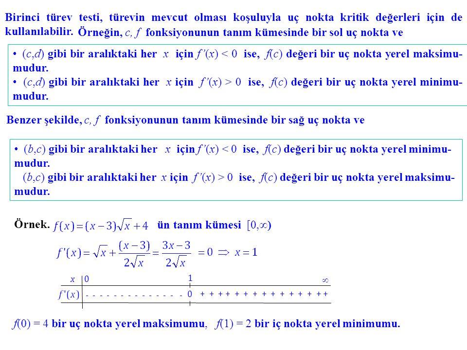 Birinci türev testi, türevin mevcut olması koşuluyla uç nokta kritik değerleri için de kullanılabilir. Örneğin, c, f fonksiyonunun tanım kümesinde bir