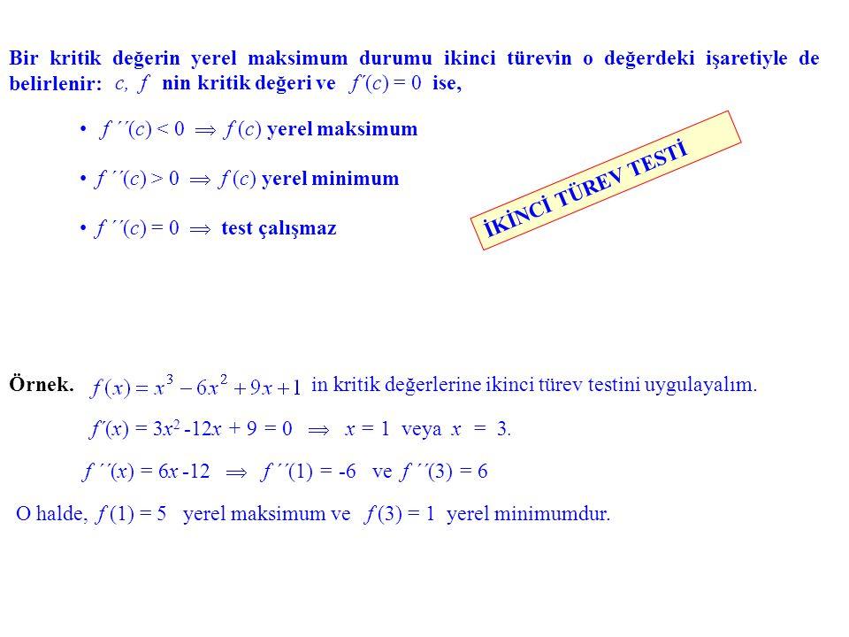 Bir kritik değerin yerel maksimum durumu ikinci türevin o değerdeki işaretiyle de belirlenir: f ´´(c) < 0  f (c) yerel maksimum f ´´(c) > 0  f (c) y