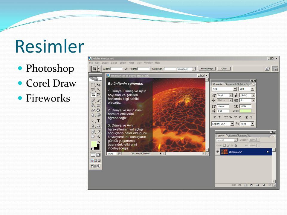 Resimler Photoshop Corel Draw Fireworks