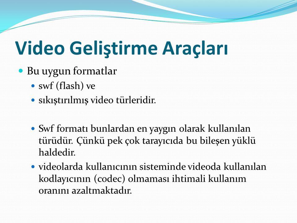 Video Geliştirme Araçları Bu uygun formatlar swf (flash) ve sıkıştırılmış video türleridir.