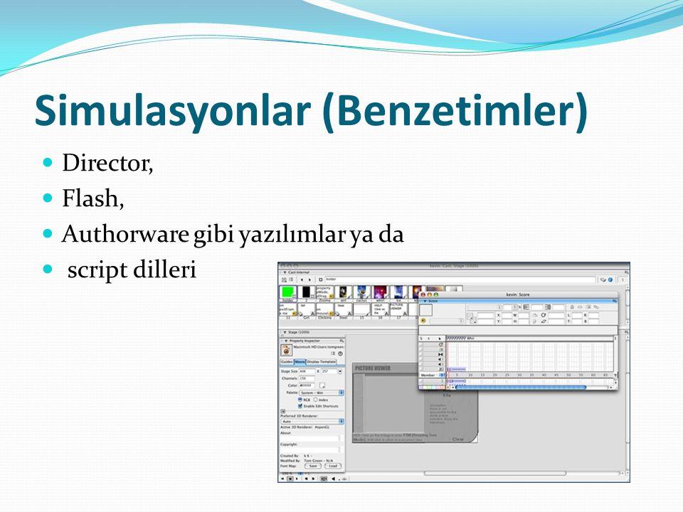Simulasyonlar (Benzetimler) Director, Flash, Authorware gibi yazılımlar ya da script dilleri