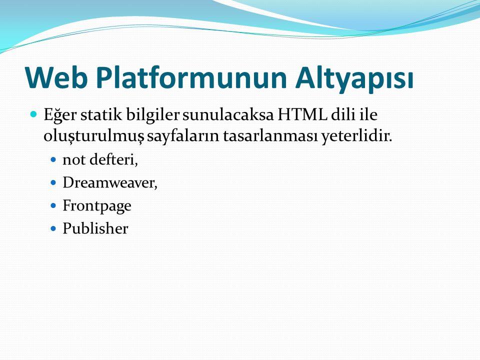 Web Platformunun Altyapısı Eğer statik bilgiler sunulacaksa HTML dili ile oluşturulmuş sayfaların tasarlanması yeterlidir.